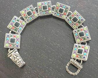 Square Links Bracelet/Multi Color Enamel Bracelet/Silver and Enamel Cobochon Bracelet/Art Deco Silver and Enamel Bracelet/No.109