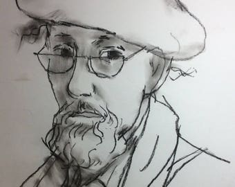 Self Portrait Peter Collins 1986 Charcoal Drawing Sketch Life