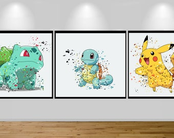 pokemon birthday, Pikachu, pokemon bingo, Pokemon Go, Pokémon Blue, Birthday, Pokémon yellow, Bulbasaur,  Squirtle, Nursery, Birthday Gift,