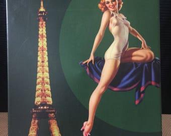 Vintage swimsuit model, canvas art.