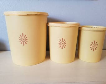 Tupperware yellow 3pc canister set
