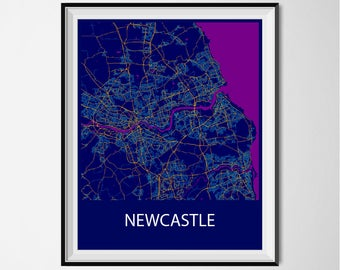 Newcastle Map Poster Print - Night