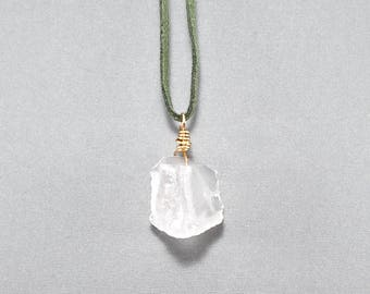 Raw Quartz Pendant Faux Suede Necklace