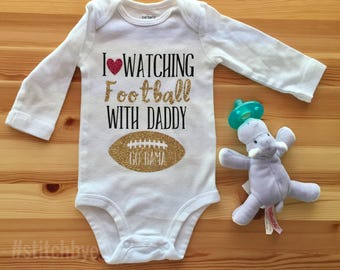 I Love Watching Football With My Daddy, NCAA, Daddy Daughter Shirt, Daddy Baby Shirt, Dad Baby Shirt, Fathers Day Gift, Football Onesie,