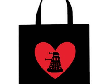 Doctor Who Dalek Valentine's Day Horror Canvas Tote Bag Market Pouch Grocery Reusable Halloween Merch Massacre Black Friday Christmas