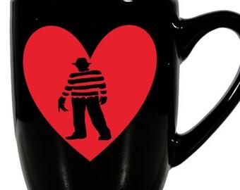 Nightmare on Elm Street Freddy Krueger Valentine's Day Love Heart Horror Mug Coffee Cup Gift Home Decor Kitchen Halloween Bar