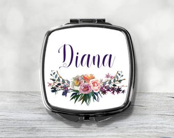 Custom Bridesmaid Gift - Personalized Compact Mirror - Name Gifts
