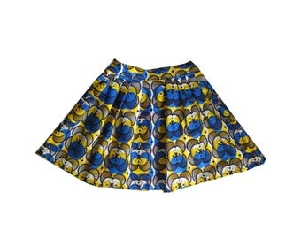 African Girls Skirt with Pleats, Ankara Kids Skirt
