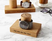 Gents Single Watch Stand / Gift For Him / Present for Dad / Special Birthday Gift / Personalised Watch Display Stand / Oak Personalized Gift