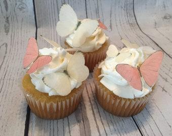 Pink & Beige  Assorted Edible Butterflies -9