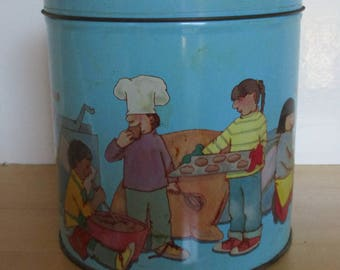 Vintage Cookie Tin - Children's Blue Storage Tin, Children Baking Tin, Round Tin, Collector Tin