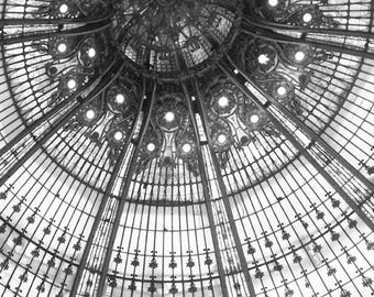 BW, Galeries Lafayette Stained Glass Photography, Paris Photography, Galeries Lafayette Print, Paris Art Print, Wall Art, Travel Photography
