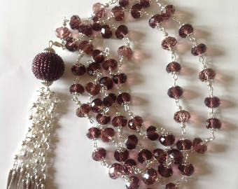 Long amethyst crystal glass beaded tassel necklace long necklace crystal necklace tassel necklace purple necklace flapper necklace fashion