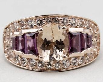 Morganite White Topaz Rose Gold Ring - 14k ring