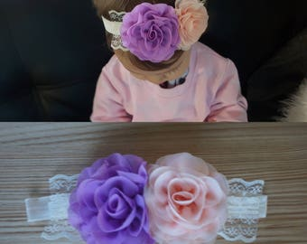 Baby Girl Purple & Peach Flower Lace Headband