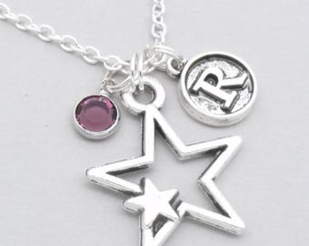 Double star vintage style initial necklace | star jewellery | star pendant | personalised star gift | birthstone