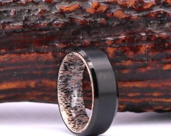 Titanium Antler Mens Wedding Ring Black Titanium Ring Antler Wedding Ring Antler  Mens Wedding Ring Mens Antler Rings By Pristine