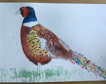 Phil the pheasant  - ORIGINAL Signed Colourful Watercolour - A3