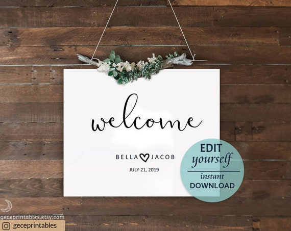 Modern welcome sign wedding welcome sign editable template diy il570xn junglespirit Images