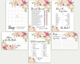 Bridal Shower Games Bridal Shower Game Set Bridal Game Set Bridal Games Bundle Printable Bridal Games Bridal Tea Games Floral Game Set DIY