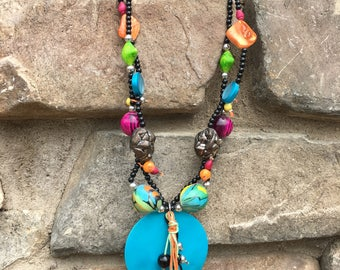Turquoise Jewelry Necklace, Beaded