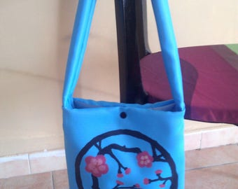 shoulder bag blue with cherry blossom design