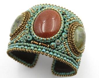 Bracelet embroidered Designer, miyuki beads, turquoise