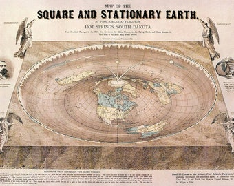 "Flat Earth Maps: Gleason New Standard Map and Orlando Ferguson Square and Stationary Map. LARGE A1 Posters 33.1"" x 23.4"" 200gsm silk paper"