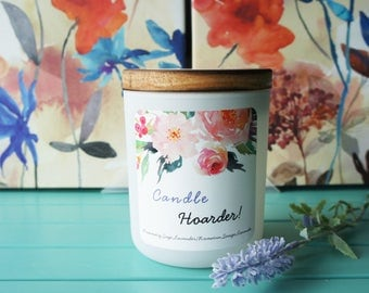 Scented Soy Candle/'CANDLE HOARDER'/Rosemary,Sage and Lavender/Handpoured