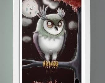 Owl quirky children illustration wall art