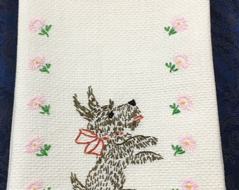 Vintage Linen Dish Towel with Embroidered Flowers and a really cute Scottish Terrier Scotty Dog