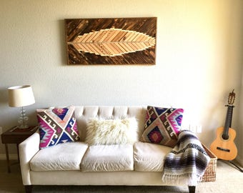 Reclaimed Wood Feather Wall Art