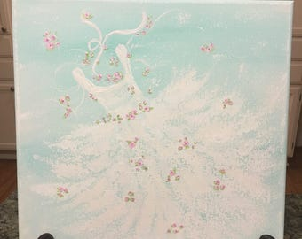 Tutu and Roses Painting, ballet art, ballerina art, little girl's room decor, nursery decor, nursery art