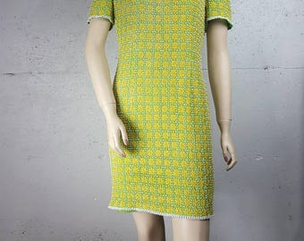 Bead and Stitch Flower Green Yellow Knee Length Mini Dress Size Womens 12 M Medium India