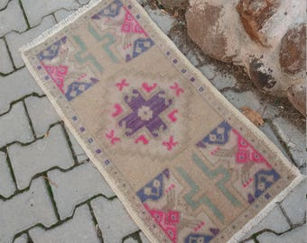 "Oushak Small Rug,Turkish Small Rug,Vintage Oushak Small Rug,1'7""x3'1""feet,HomeLiving,Wool on Cotton Rugs,,Vintage Small Rug, Pink Small Rug,"