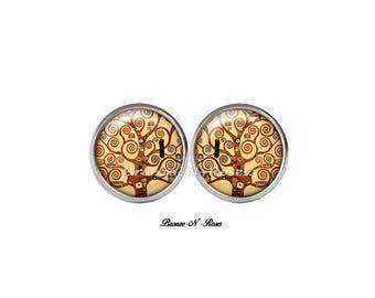 Tree of life Stud Earrings cabochon Gustav klimt reproduction yellow spirals