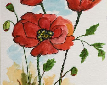 Poppies Greeting Card/Poppies/Watercolor Greeting Card/Floral greeting card/5 x 7 card/Poppy flower/Card and envelope/Wildflowers