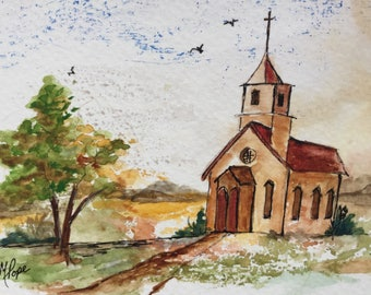 Country church greeting card/Ink and watercolor/Church/Watercolor greeting card/ Watercolor Card/5 x 7 greeting card/Card and envelope
