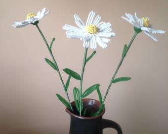 White daisy made of beads