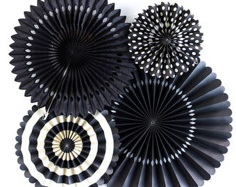 Pack of 4 Black Paper Fans Set Fiesta Party Hanging Fans Baby Shower Wedding Party Dackdrop Decorations