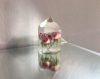 Triple Pink Rose Bloom Crystal
