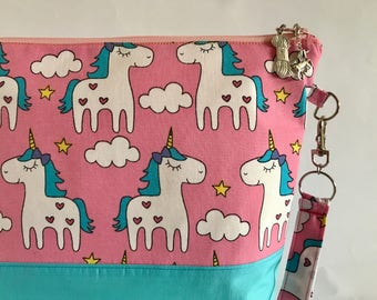 Unicorns In The Sky - medium project bag for knitting/crocheting