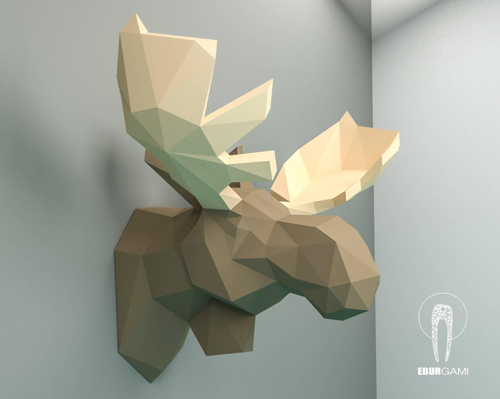 moose pepercraft head papercraft trophy pdf kit 3d diy. Black Bedroom Furniture Sets. Home Design Ideas