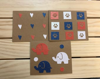 3 pack of USA Patriotic Cards/4th of July/Red/White/Blue/Elephants/Paw Prints/ Hearts/Glitter