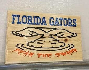 "FLORIDA GATORS ""Fear The Swamp""  Engraved Wood Wall Art"