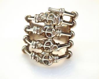 Sterling Silver Multi-Skull and Bones Ring