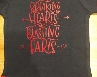 "Boys onesie ""breaking hearts and blasting farts"""