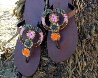 Multicolour African shoes, Brown african shoes, beaded shoes, african shop, maasai shop,summer shoes,african sandals,beaded sandals, flats