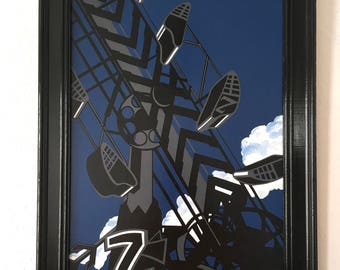 Zipper/Original art, Contemporary art, Montana artist, Acrylic painting, Pop, Art collectors, State Fair lovers, Carnival rides, Sillouette