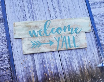 Welcome Y'All, Rustic, Distressed, Wood Sign, Country, Home Decor, Reclaimed Wood, White, Green